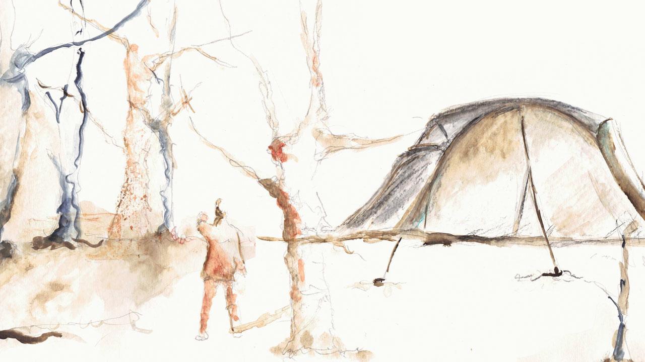 illustrazione copertina camping belge eligrafica formia
