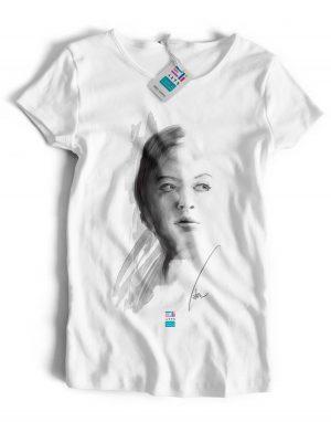 t-shirt ritratto di donna eligrafica eliarts